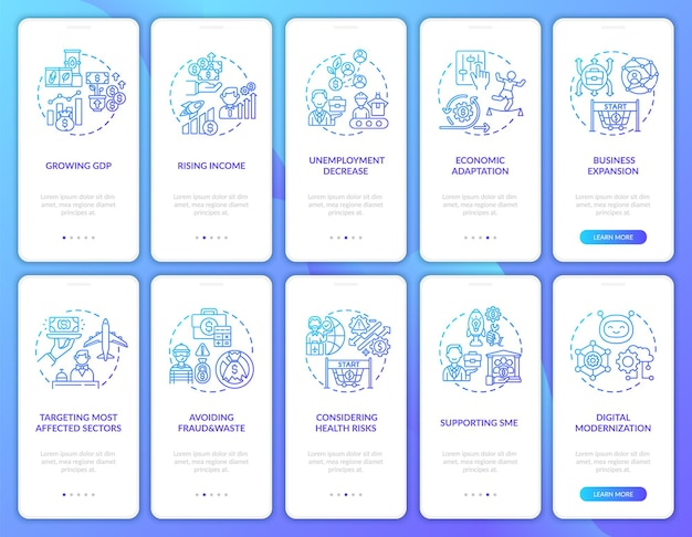 Economic recovery onboarding mobile app page screen with concepts set. avoiding fraud and waste walkthrough 5 steps . ui  template with rgb color illustrations