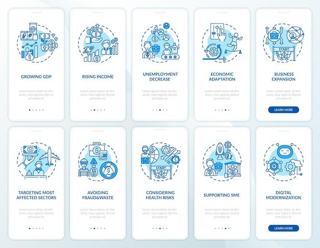 개념이 설정된 경제 회복 온 보딩 모바일 앱 페이지 화면