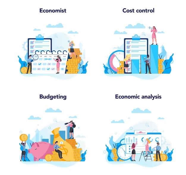 経済学と金融の概念セット。ビジネスマンはお金で働きます。投資と金儲けのアイデア。事業資本。