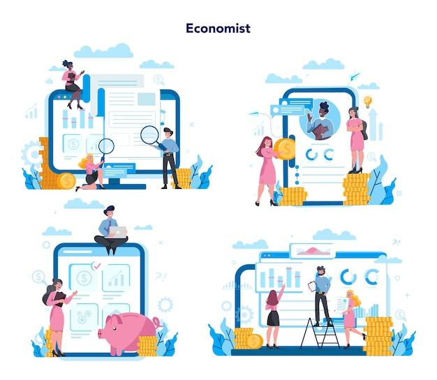さまざまなデバイス、コンピューター、ラップトップ、タブレット、スマートフォンでの経済学と金融のオンラインサービス。投資相談と監査。事業資本貸付。セットする