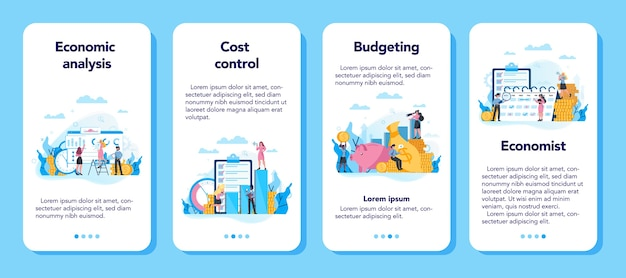 Economics and finance concept mobile application banner set. business people work with money. idea of investment and money making. business capital.