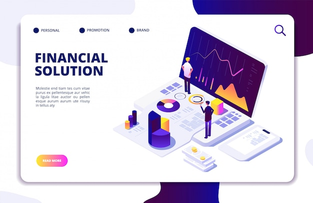 Economics finance manager isometric website template