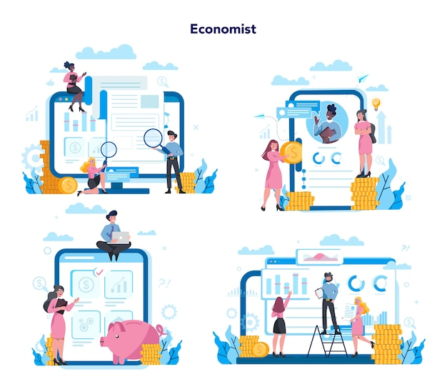Economics and finance online service on differernt device, computer, laptop, tablet and smartphone. investment consultation and audit. business capital lending.   set