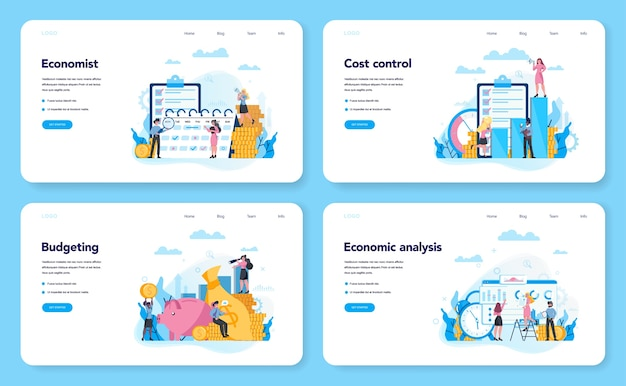 Economics and finance web banner or landing page set. business people work with money. idea of investment and money making. business capital.