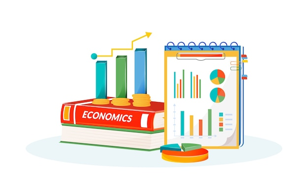 Economics flat concept illustration. school subject. social science learning metaphor. statistivs class. university course. student textbook, graphs and pie charts items 2d cartoon objects