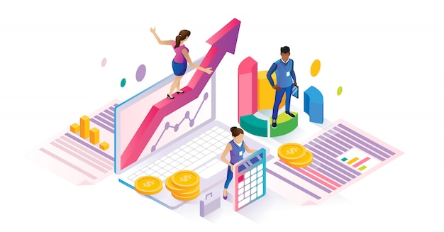 Economics isometric cyberspace financial business concept