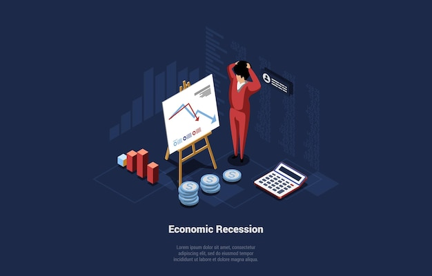 Economics recession conceptual illustration with infographics. 3d cartoon composition on dark background. vector isometric art with shocked male character standing near low falling financial graph.