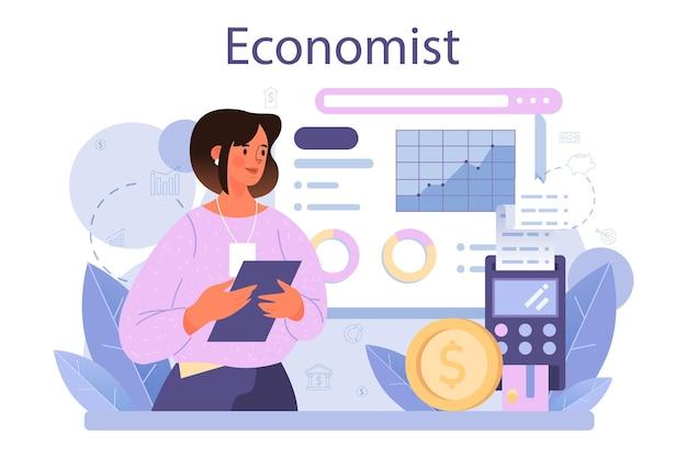 Концепция экономиста. профессиональный ученый, изучающий экономику и деньги. идея экономического контроля и бюджетирования. деловая столица. векторные иллюстрации в мультяшном стиле