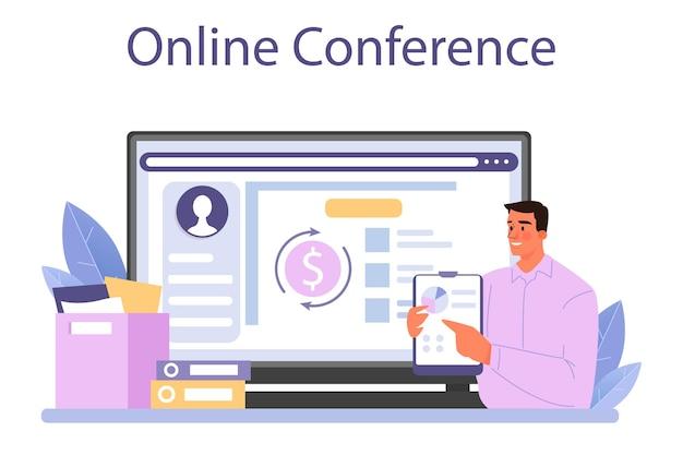 Онлайн-сервис или платформа economist. ученый, изучающий экономику и деньги. экономический контроль и бюджетирование. онлайн-конференция. векторная иллюстрация плоский