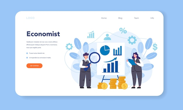 Economist web banner or landing page. professional scientist studying economics and money.