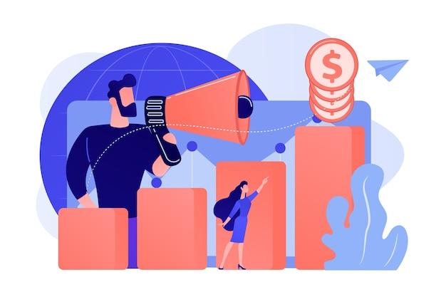 Economista con megafono, colonna della crescita economica e grafico della produttività del mercato. sviluppo economico, classifica dell'economia mondiale, illustrazione del concetto di economia di mercato