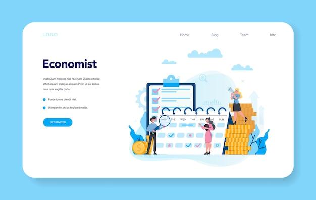 エコノミストは、webバナーまたはランディングページセットを概念化します。ビジネスマンはお金で働きます。投資と金儲けのアイデア。事業資本。