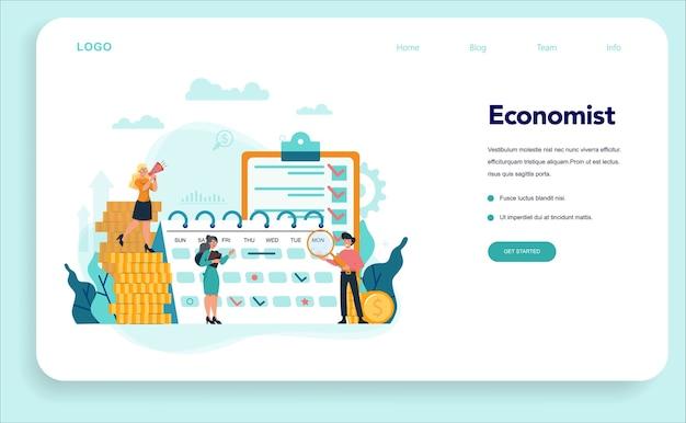 エコノミストのコンセプトwebテンプレートまたはランディングページ。