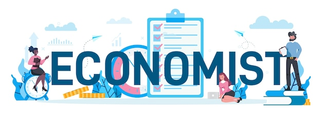 Economists typographic concept. business people work with money. idea of investment and money making. business capital.