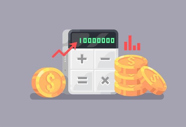 경제와 금융. 계산기와 동전. 비즈니스, 회계.