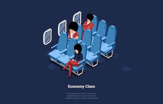 진한 파란색에 비행기 그림에서 이코노미 클래스. 좌석, 창문 및 승객이있는 비행기 내부 디자인의 아이소 메트릭 구성