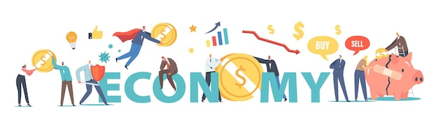 Economy concept. business opportunity during coronavirus. economic drop after covid19 outbreak crisis, characters start new life, earn money poster, banner, flyer. cartoon people vector illustration