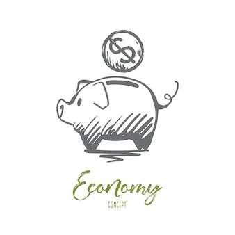 Economy illustration in hand drawn