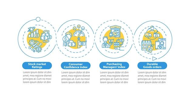 セクターの経済インフォグラフィックテンプレート。会社のプレゼンテーションデザイン要素に対するビジネス条件。 4つのステップによるデータの視覚化。タイムラインチャートを処理します。線形アイコンのワークフローレイアウト