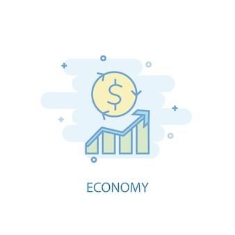 Концепция линии экономики. значок простой линии, цветные рисунки. символ экономики плоский дизайн. может использоваться для ui / ux