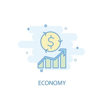 Economy line concept. simple line icon, colored illustration. economy symbol flat design. can be used for ui/ux