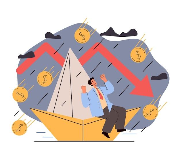 Экономический спад, финансовый кризис, крах бизнеса, провал концепции