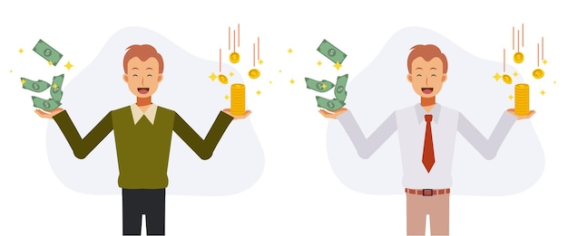 Economy and savings concept.happy man in casual dress and business uniform holding full of coins and banknotes in both hands. flat vector cartoon character illustration.