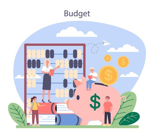 Концепция предмета школы экономики. студент изучает экономику и бюджет. идея глобальной экономики, инвестиций и фонда.