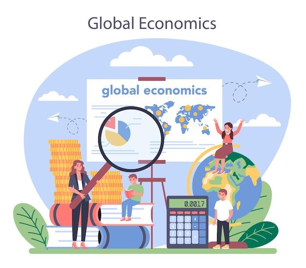 経済学校の教科の概念。経済学と予算を勉強している学生。世界経済、投資、基盤のアイデア。