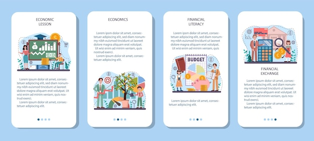 Economy school subject mobile application banner set. student studying