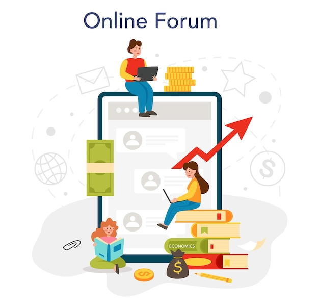 Economy school subject online service or platform student studying