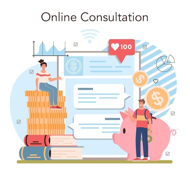 Economy school subject online service or platform. student studying