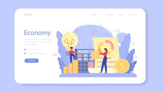 Economy school subject web banner or landing page