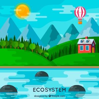 フラットスタイルの生態系と自然のコンセプト 無料ベクター