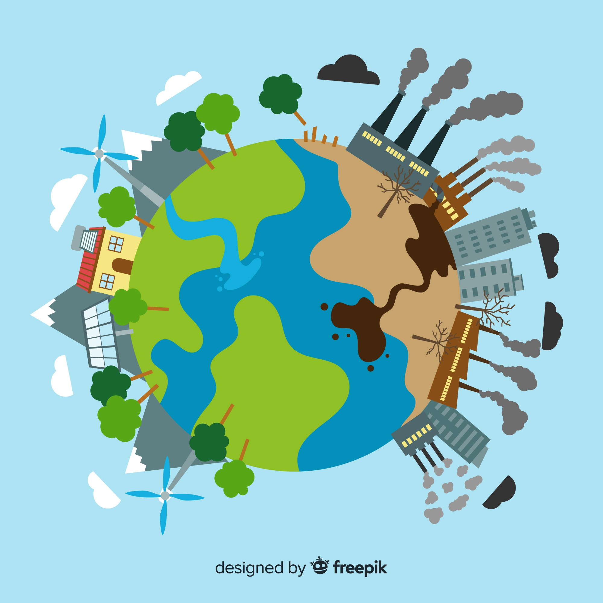 Ecosystem and pollution concept on globe