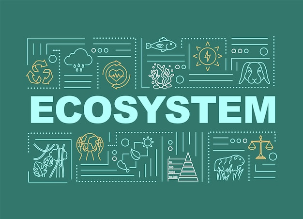 Ecosystem, biodiversity word concepts banner. nature, living organisms community. infographics with linear icons on green background. isolated typography. vector outline rgb color illustration