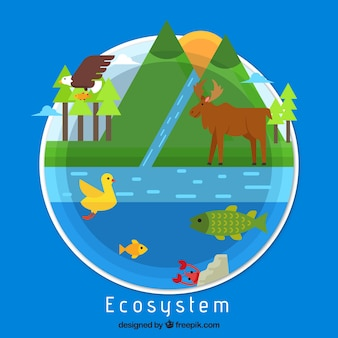 Ecosystem concept in flat style
