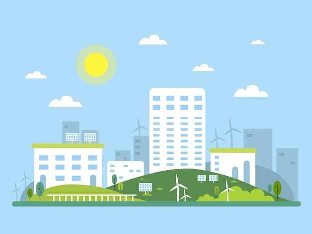 도시 풍경의 생태계 개념 그림입니다. 대체 에너지 태양열 및 풍력. 삽화