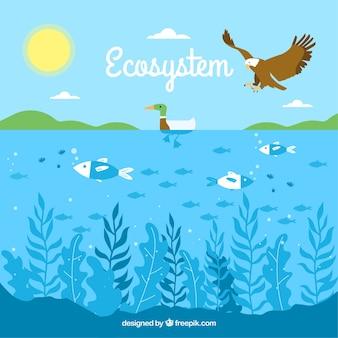 Concetto di ecosistema con aquila e oceano