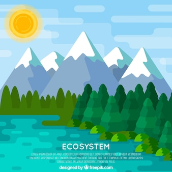 Ecosystem concept with mountain background