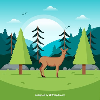 Ecosystem conservation composition with lovely deer