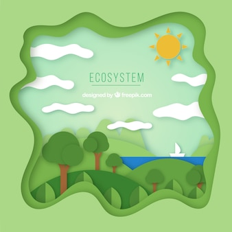Ecosystem conservation composition with origami style