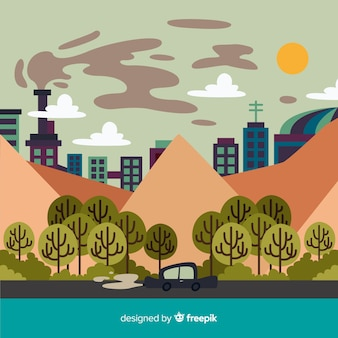 Ecosystem and pollution concept with city background