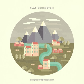 Ecosystem and pollution concept
