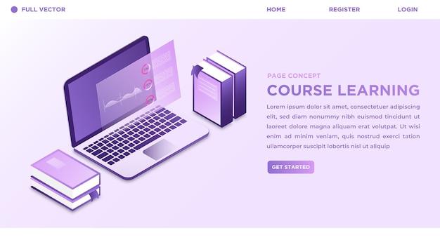 等尺性のスタイルの3dベクトル図とecourse学習現代技術のランディングページ
