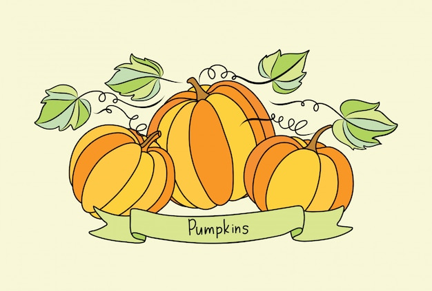 Ector banner with pumpkins and place for your text