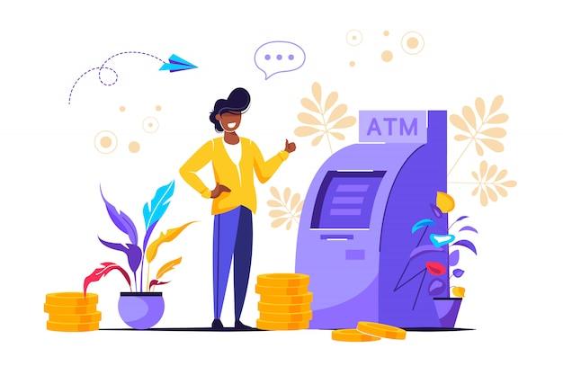 Ector illustration, perform financial transactions using atm