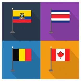 Ecuador costa rica belgium and canada flags