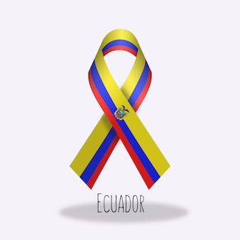 Ecuador flag ribbon design