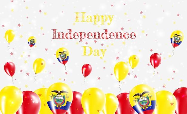 Патриотический дизайн дня независимости эквадора. воздушные шары в национальных цветах эквадора. поздравительная открытка вектора дня независимости сша.
